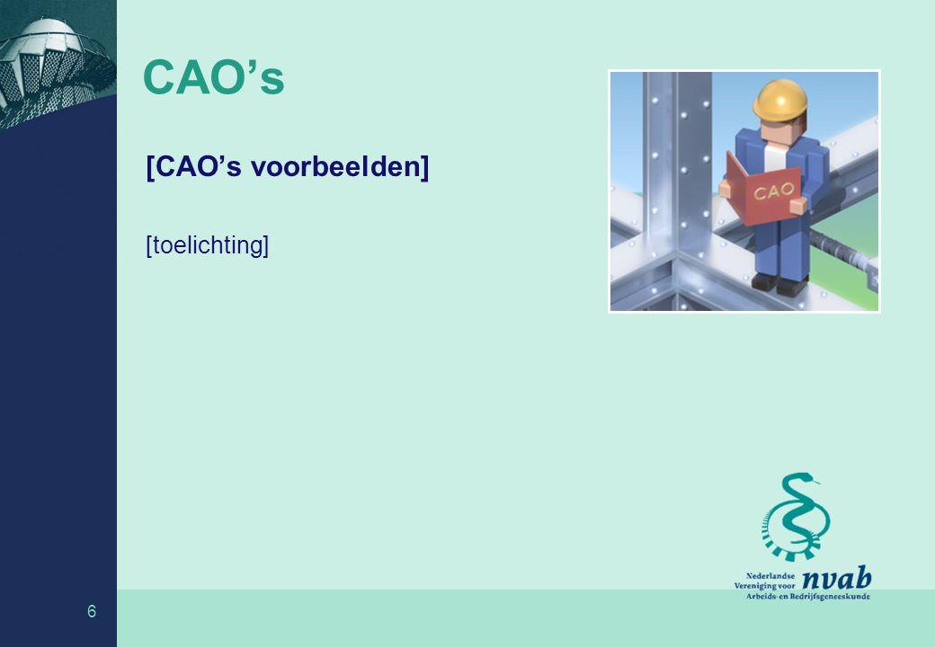 CAO's [CAO's voorbeelden] [toelichting]